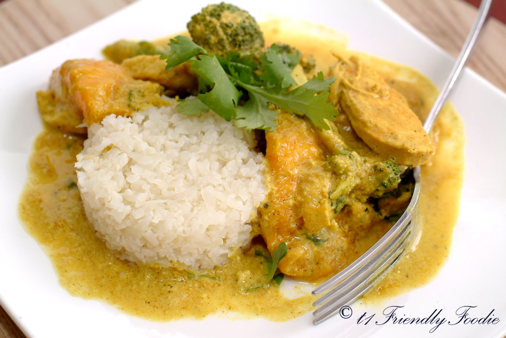 Mango chicken curry with cauliflower rice